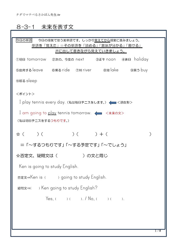 be going to 未来を表す文(1)